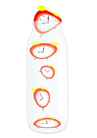 hour glass figure: Alarm clocks kept in the glass bottle Illustration