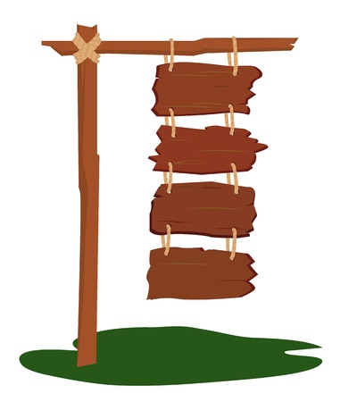 wooden post: Four wooden signs hanging together on the post