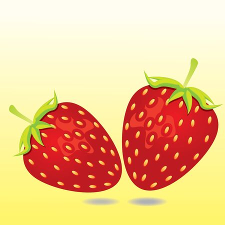 Two Strawberries isolated on yellow background
