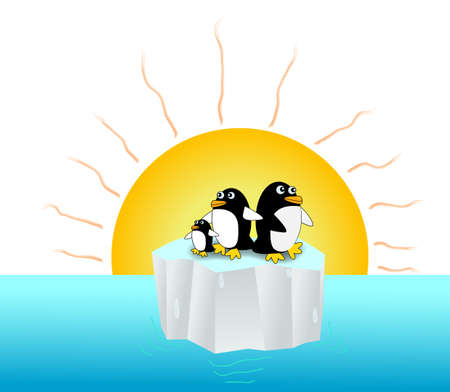 Penguins live on tiny iceberg floating in the ocean under the hot sun ray Stock Vector - 19159491