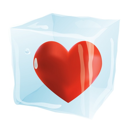 The heart in an ice cube isolated on the white background Stock Vector - 19684377