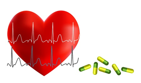 Heart with EKG and medicine isolated on the white background Vector