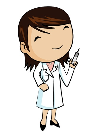 Doctor smiling and holding syringe Vector