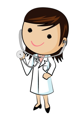 Female doctor wearing stethoscope, vector