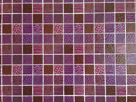 Purple color glass mosaic wall background photo