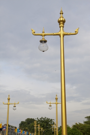 The row of Thai styled lamp posts photo