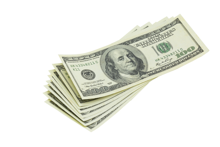 American bank notes isolated on the white background photo