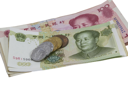 Chinese bank notes and coin on the white background photo