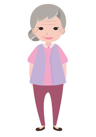 Old lady character, cartoon vector Vector