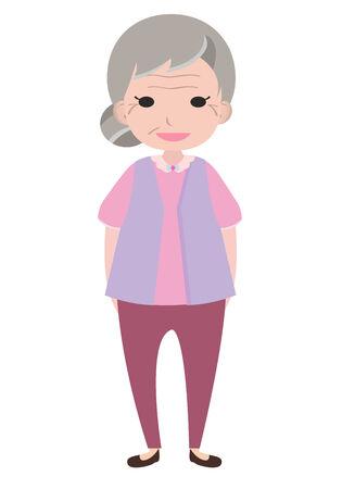Old lady character, cartoon vector