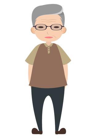 Old man character wearing glasses, cartoon vector Illustration