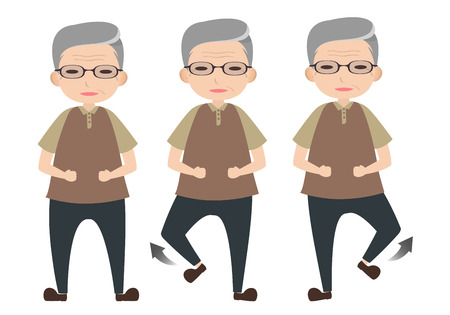 Old man character lifting foot to exercise