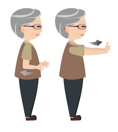 hombres maduros: Car�cter del hombre viejo empujando la mano para ejercer