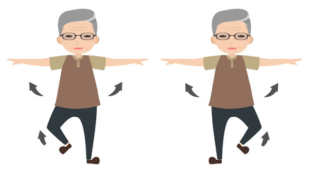 clipart wrinkles: Old man character stretching arm and lifting foot