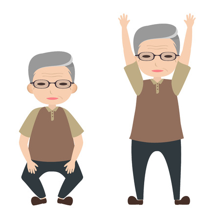 bending: Old man character with knee bending and arm lifting posture