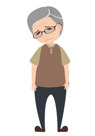 Depressieve oude man, karakter vector Stock Illustratie