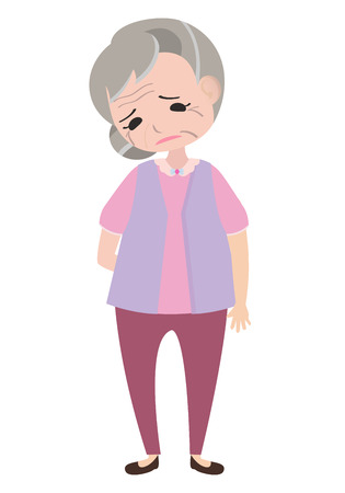 Depressed old woman, character vector