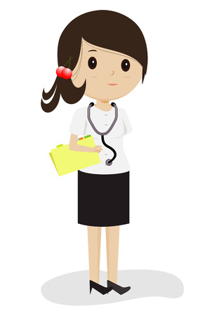 Female doctor in white gown with stethoscope, vector Illustration
