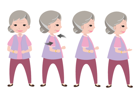 woman fist: Exercising old woman with twisting posture Illustration