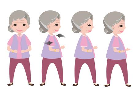 alte frau: Fitnesstraining alte Frau mit Haltung Verdrehen Illustration
