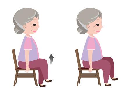 3 月着席姿勢運動を持つ女性をベクトルします。
