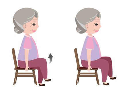 senior exercise: Woman with Seated March posture exercise, vector Illustration