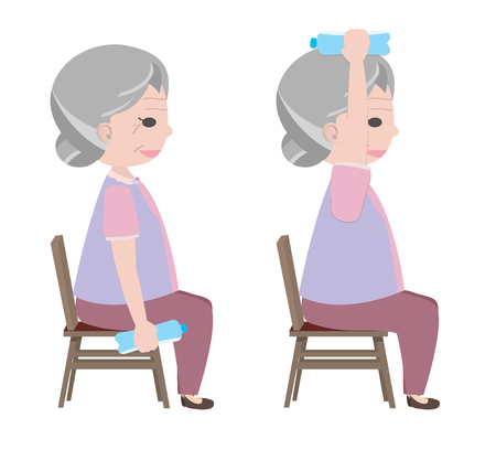 senior exercise: Old lady lifting drinking water to exercise Illustration