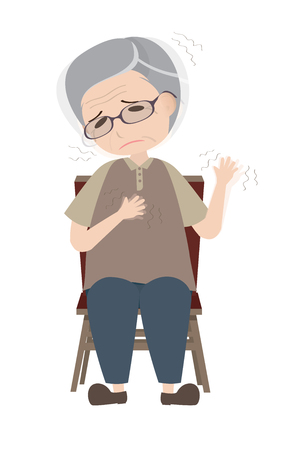 Parkinsons disease patient with dyskinesia symptom Illustration