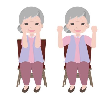 alte frau: Old Frau-�bungen von sitzen-und Hebe ihren Arm Drehen in die und aus