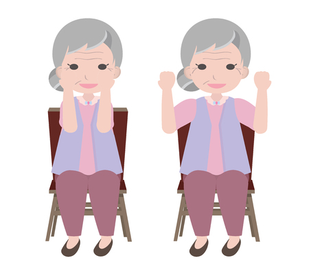 Old woman exercises by sitting and lifting her arm turning in and out
