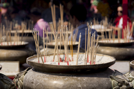 incense sticks: Incense sticks placed in the pot Stock Photo