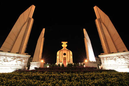 Democracy monument of Thailand in center of Bangkok photo