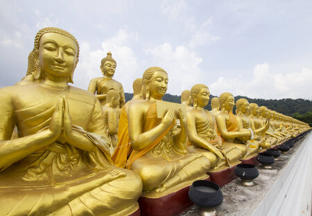 disciple: Buddha and disciple statues, Makabucha posture, Thailand