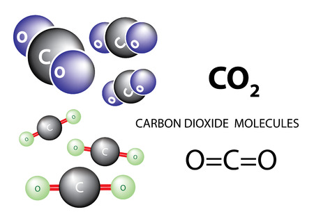 greenhouse gas: Carbon dioxide molecule chemical structure, vector Illustration