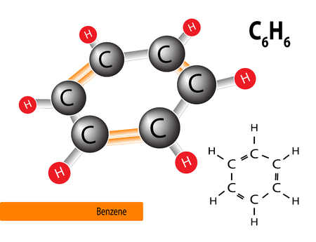 Benzene structure consists of carbon and hydrogen, vector