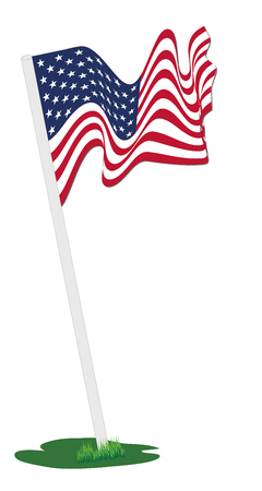 flag pole: Waving American flag pole, vector