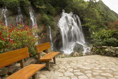 sa: Wooden bench at Tien Sa waterfall in Cat Cat village, SAPA,Vietnam