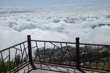 fog forest: Fog and cloud filled the valley over the village in Phetchabun, Thailand