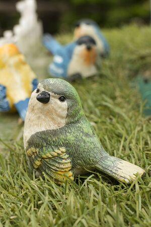 decorative item: Cute colorful bird ceramic as decorative item Stock Photo