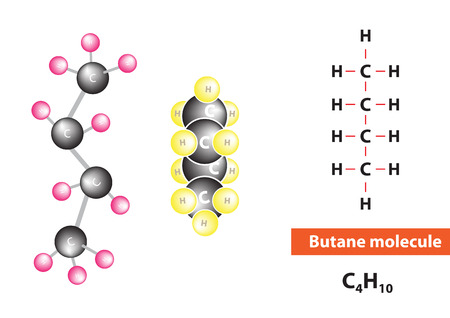 flammable: Butane molecular structure, flammable gas, vector Illustration