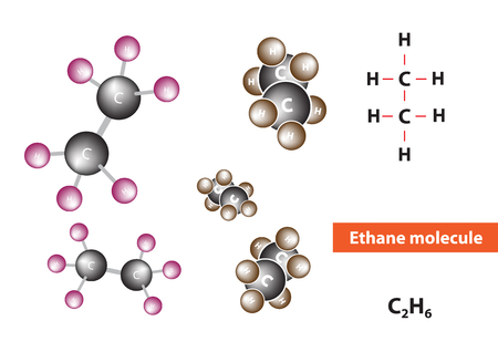 hydrocarbon: Ethane molecular structure, an organic chemical compound, vector Illustration