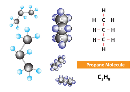 Propane molecular structure, fuel for engines, vector