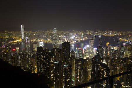 Hongkong city at night , January 2016,  Victoria harbour, Hongkong