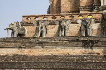 Elephant statues decorated on the wall of the ancient temple in Chiangmai, Thailand