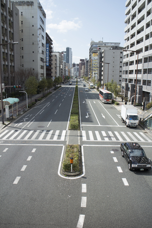The unobstructed street in the city of Osaka, March 2016, Japan