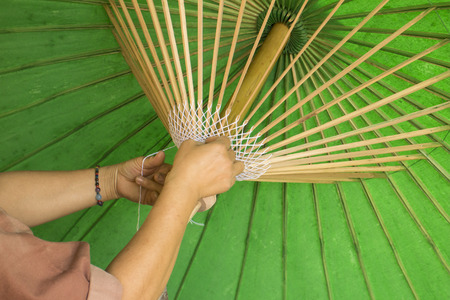 bo: A process in umbrella production in Bo Sang, Chiangmai, Thailand