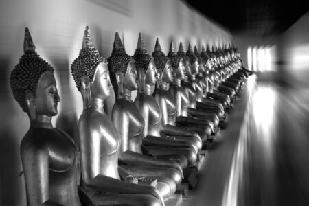 Row of Buddha statues in black and white color