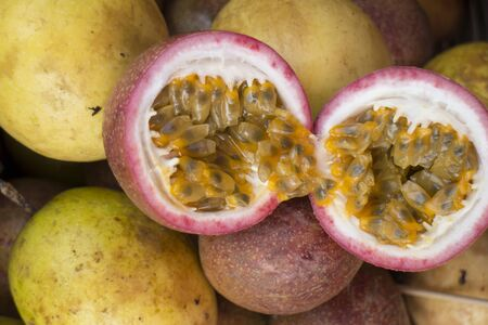 Passion fruit cut in 2 halves Stock Photo