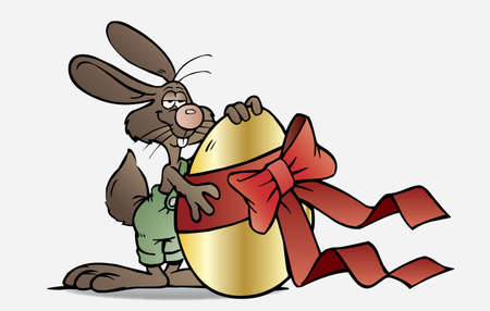 Easter bunny holding a golden Egg Stock Vector - 17593536