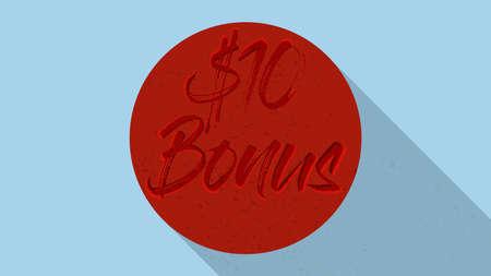 10$ Bonus Icon Grungy look Illustration